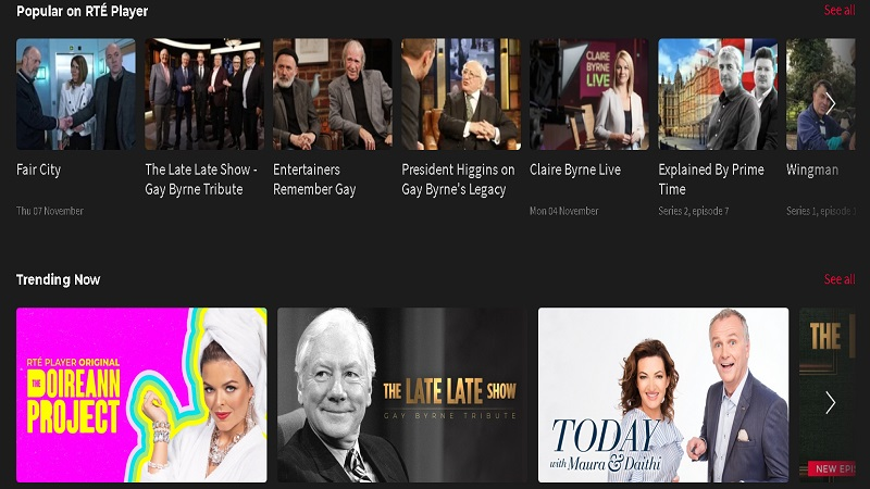 Stream sport, tv shows and movies with the RTE Player